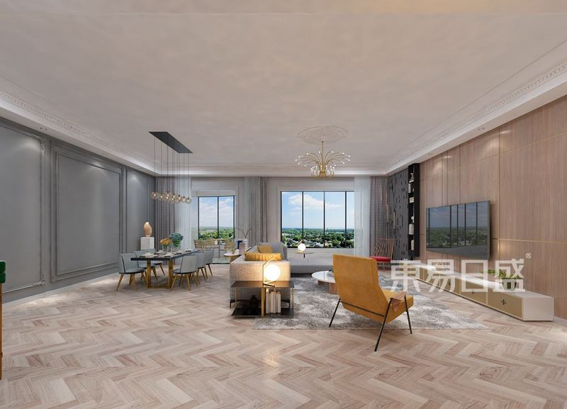 首页 室内装修效果图 > 金沙泊岸现代法式混搭224平米装修效   所属案