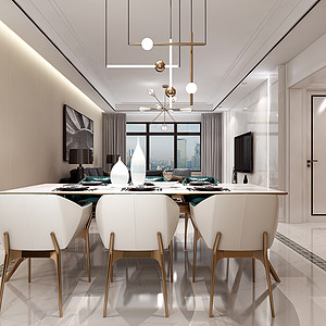 中海广场现代新极简风格餐厅装修效果图