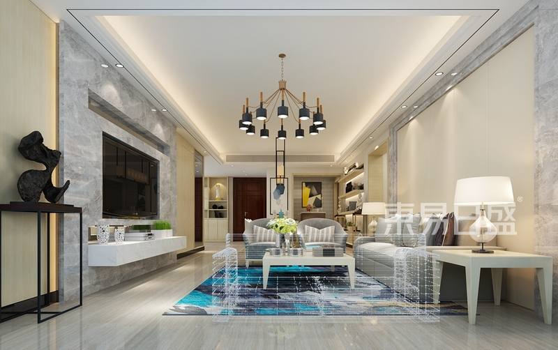 现代轻奢装修效果图-客厅-和平里 现代轻奢装修效果图 145平米