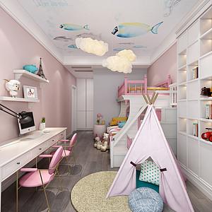 粉色单椅与白色柜体的碰撞,营造一种时尚温馨的公主房。