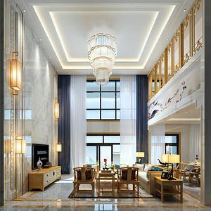 鸿荣源熙龙湾 新中式风格装饰设计 260平米 复式楼装修效果图