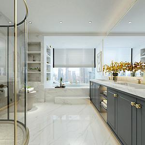 爵士白大理石营造的大气简洁的洗浴空间,黄色的花品,充满浪漫气息。