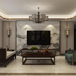 德贤公馆 三室二厅 新中式风格装修案例