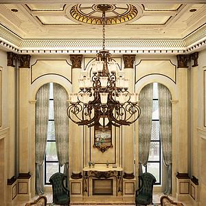 檀郡别墅新古典风格客厅共享空间装修效果图