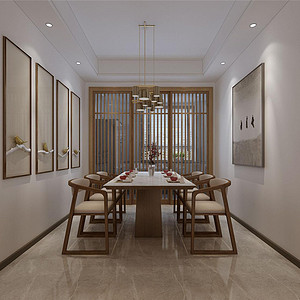 原乡半岛新中式风格餐厅装修效果图
