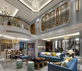 万江欧景城别墅现代中式客厅装修效果图