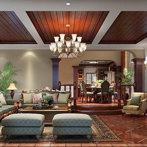 洞庭国际公馆355平米美式风格-东西方文化完美融合