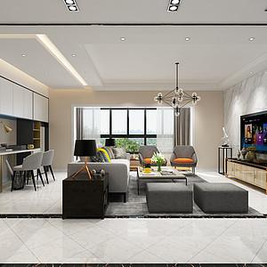 紫御润园-145平米-现代简约风格装修案例效果图