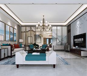 沙田御海蓝岸别墅现代简约客厅装修效果图