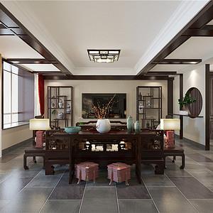 亿利生态岛现代中式风格客厅装修效果图