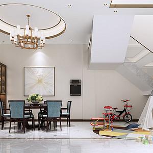 沙田御海蓝岸别墅现代简约餐厅装修效果图