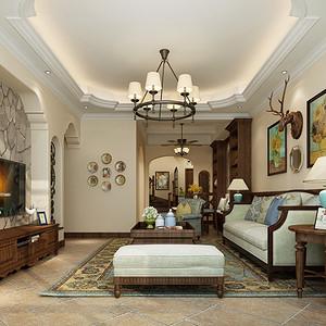 湘江名都248平小美风格复式客厅