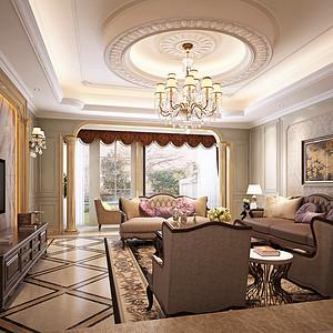 松山湖锦绣山河观园装修案例 260㎡五房二厅欧式古典装修效果图