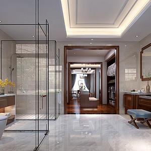 首创国际半岛别墅新中式风格二楼主卧卫生间装修效果图