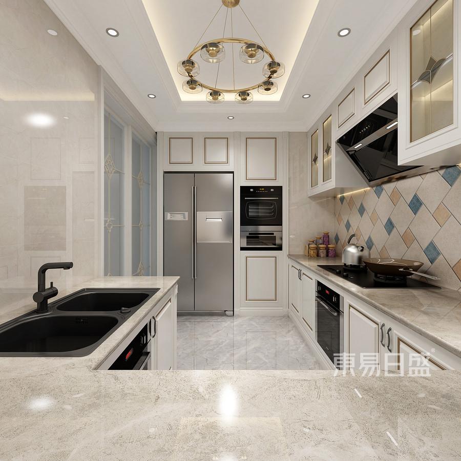 佛山424㎡简欧风格复式楼厨房装修效果图