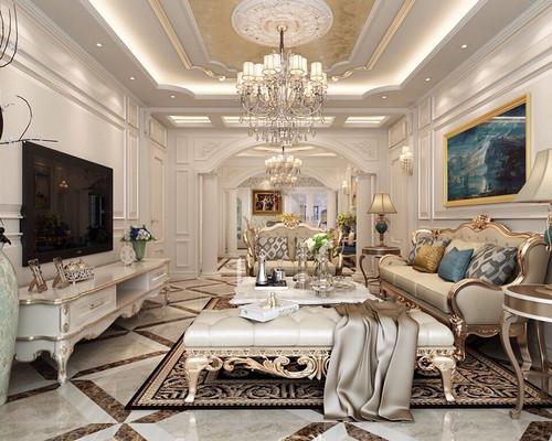 中海广场-120平米-古典欧式风格两室一厅装修案例效果图