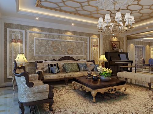 中广宜景湾尚城-182平米-欧式古典风格装修案例效果图装修设计理念