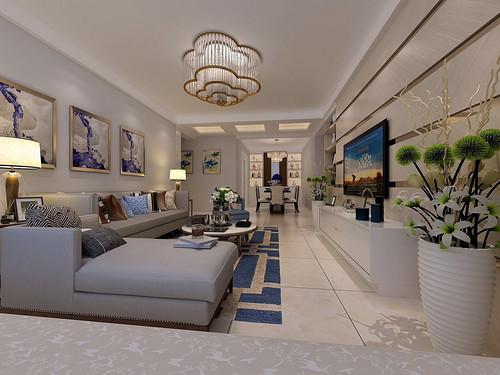 保利领秀山-117平米-现代简约风格两室一厅装修案例效果图