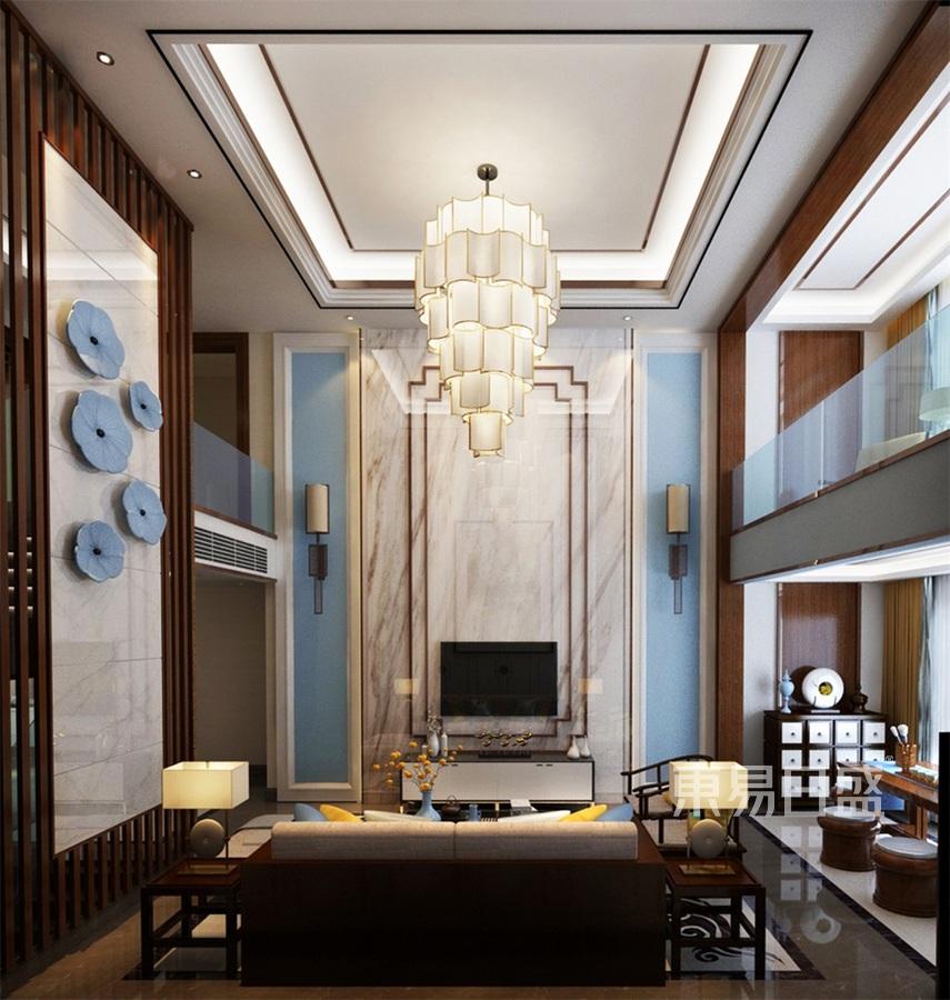 别墅-新中式-客厅电视背景墙-效果图效果图_2019装修图片