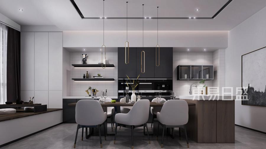 现代新极简风格餐厅装修风格效果图_2019装修案例图片