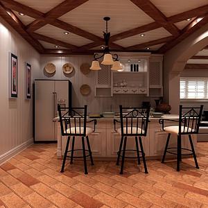 400平米别墅美式风格厨房效果图