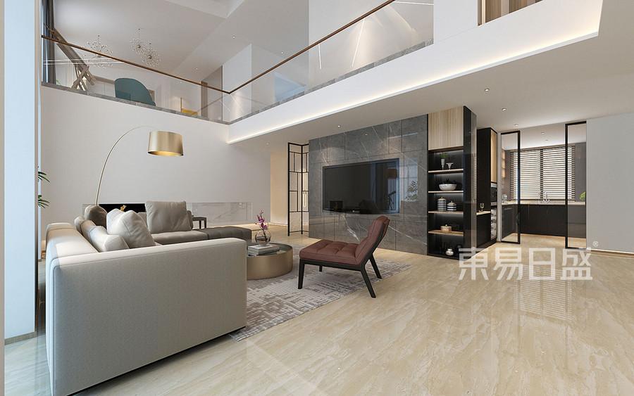 现代极简风格客厅装修设计效果图_2019装修案例图片