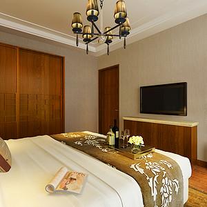 新中式卧室利用线条及色彩丰富整体空间