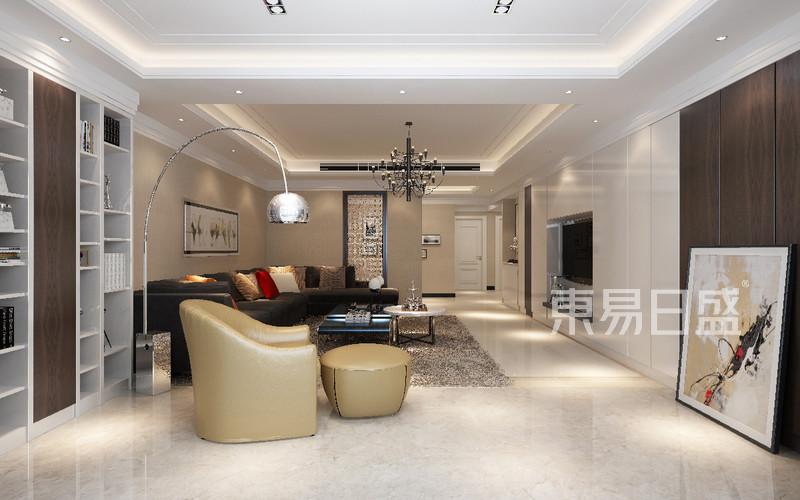 首页 室内装修效果图 > 客厅:白色烤漆柜体与米黄色地砖相互搭   逸翠