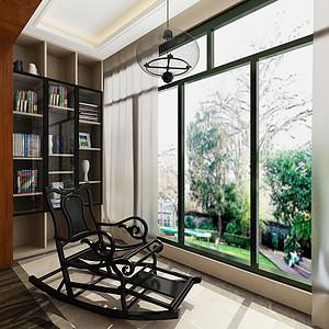 新中式阳台设置休闲椅及书柜