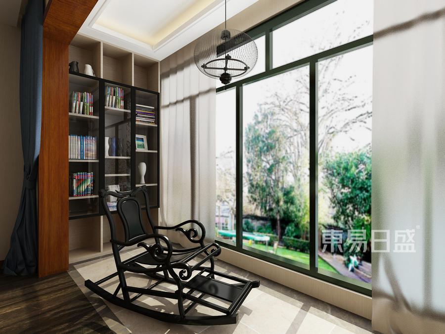 新中式陽臺設置休閑椅及書柜圖片