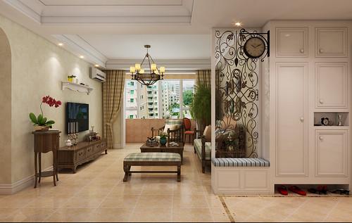 盛世御城114平三室二厅简美风格装修效果图