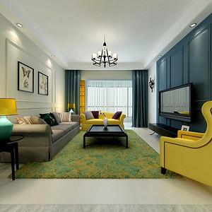 珠江绿洲-美式装修风格-90平米