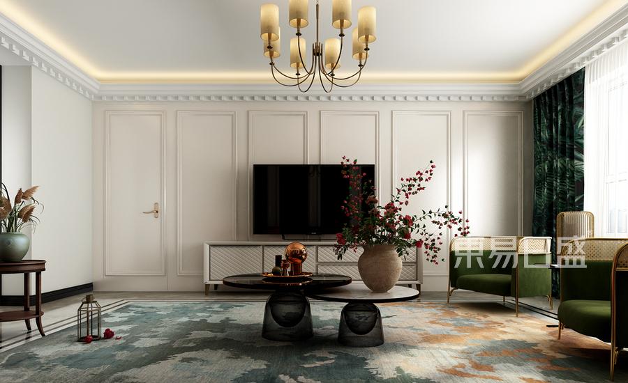 美式轻奢风格客厅装修效果图