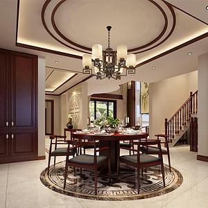 尚清湾新中式风格餐厅装修效果图