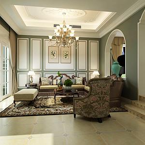 美式风格客厅沙发背景墙