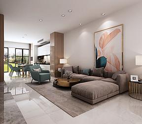 保利领秀山现代简约风格别墅客厅装修案例效果图