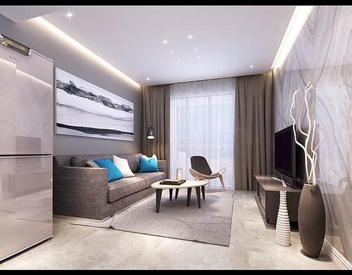 美景鸿城极简风格90㎡三室一厅
