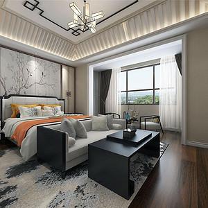 尚清湾新中式风格卧室装修效果图