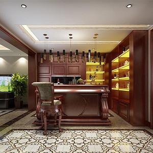 首创国际半岛新古典风格吧台装修效果图
