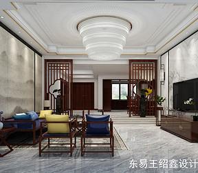 绿地华庭新中式风格客厅装修效果图