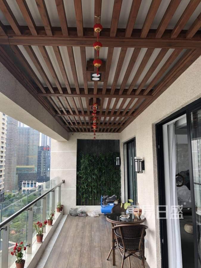 佛山绿岛湖壹号200㎡新中式阳台装修实景图