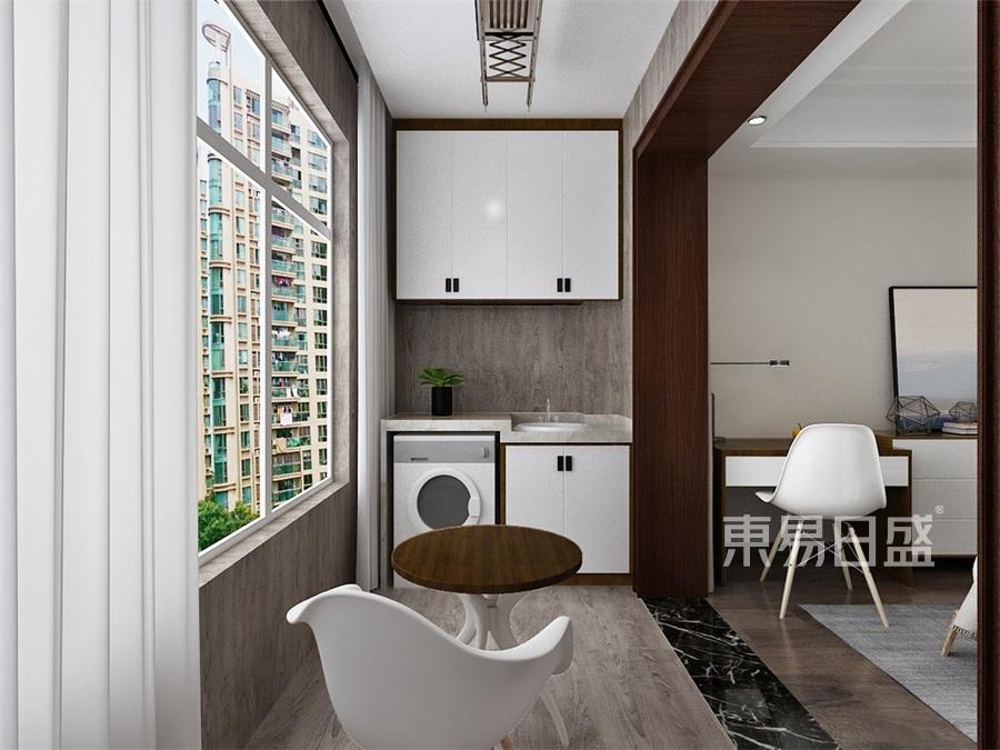四居室-新中式-女儿房阳台-效果图