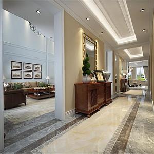 水岸唐宁美式风格走廊装修效果图