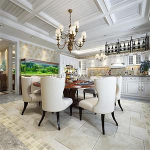 水岸唐宁美式风格餐厅装修效果图