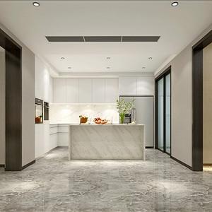 现代简约厨房以白色调显得简洁干净