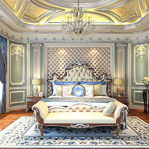 普霖花园法式宫廷卧室装修效果图-法式卧室装修效果图 法式卧室装修