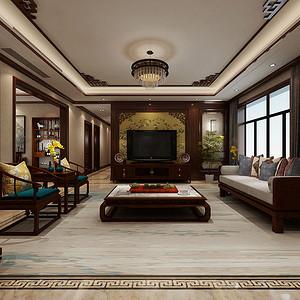姜溪花都 新中式装修效果图 三室两厅 200㎡装修效果图