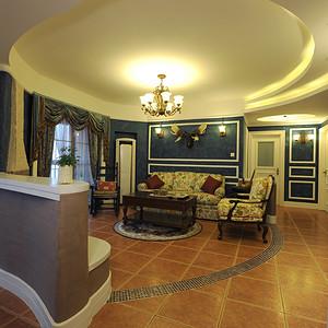 万博汇145平抽象美式三居客厅全景