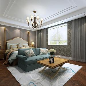 水岸唐宁美式风格卧室装修效果图