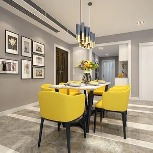餐厅黄色的餐椅为整个空间增添了活泼